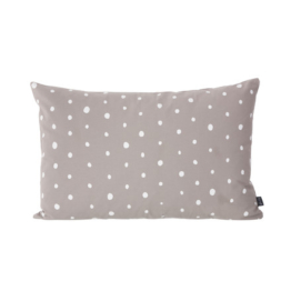 ferm Living - Dotted Kissen 60 x 40 cm, warm grey / white