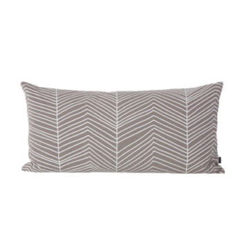 ferm Living - Herringbone Kissen 80 x 40 cm, warm grey / white