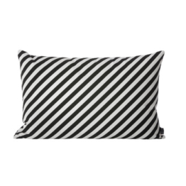 ferm Living - Striped Kissen 60 x 40 cm, black / white