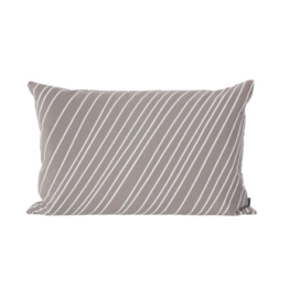 ferm Living - Striped Kissen 60 x 40 cm, warm grey / white