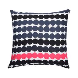 Marimekko - Räsymatto Kissenbezug 50 x 50 cm, schwarz / weiß / pink