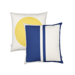 Vitra - Graphic Print Pillow - Rectangles / Circle 40 x 40 cm, blau / senfgelb