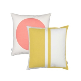 Vitra - Graphic Print Pillow - Rectangles / Circle 40 x 40 cm, senfgelb / pink