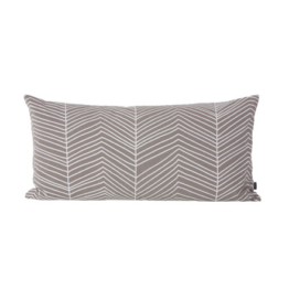 ferm Living - Herringbone Kissen 80 x 40 cm, warm grey / white