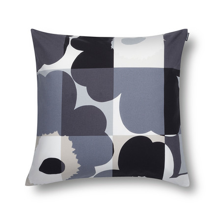 marimekko ruutu unikko kissenbezug 50 x 50 cm schwarz grau kissenjunkie. Black Bedroom Furniture Sets. Home Design Ideas